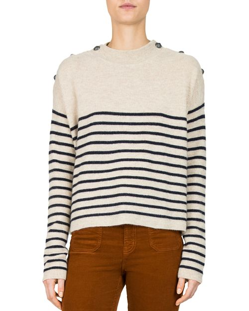 The Kooples - Striped Button-Detail Cashmere Sweater