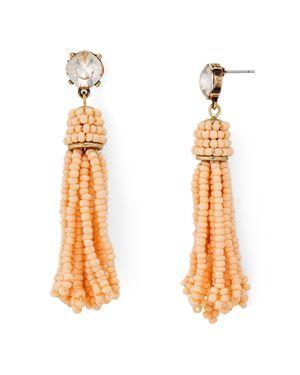 Aqua Beaded Fringe Drop Earrings - 100% Exclusive