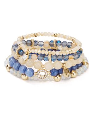 Aqua Beaded Stretch Bracelets, Set of 5 - 100% Exclusive