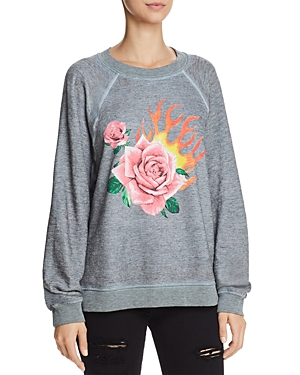 Wildfox Rose Blaze Graphic Sweatshirt