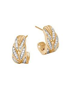 John Hardy 18K Yellow Gold Modern Chain Pavé Diamond Small J Hoop Earrings - Bloomingdale's_0