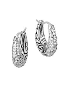 John Hardy Sterling Silver Classic Chain Pavé Diamond Hoop Earrings - 100% Exclusive - Bloomingdale's_0