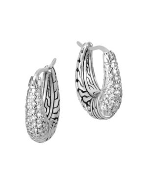 John Hardy Sterling Silver Classic Chain Pave Diamond Hoop Earrings - 100% Exclusive