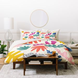 Deny Designs Zoe Wodarz Cut Paper Garden Duvet Cover Set, Twin