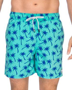 TOM & TEDDY Palm Tree Print Swim Trunks in Emerald/ Blue