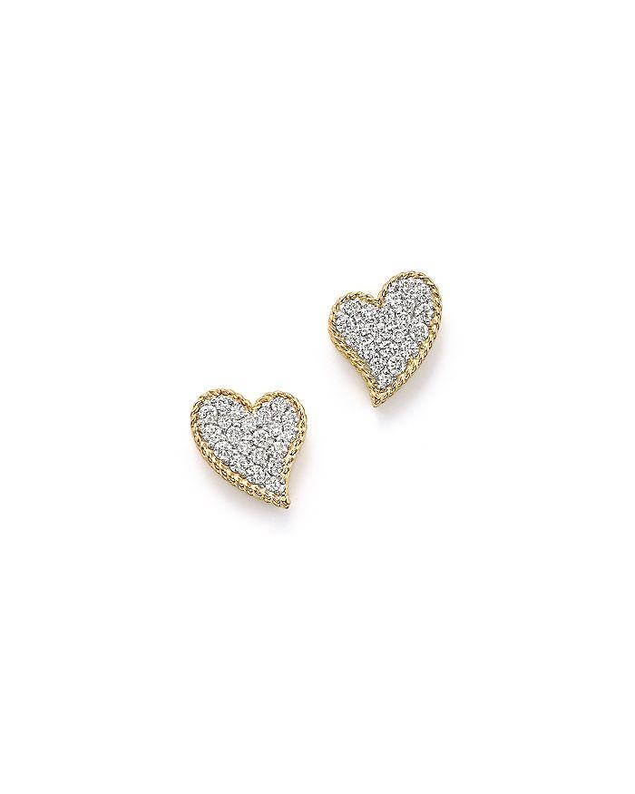 18k Yellow Gold Tiny Treasures Diamond Heart Stud Earrings