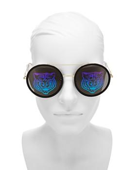 Gucci - Women's Tiger Round Mirrored Sunglasses, 56mm