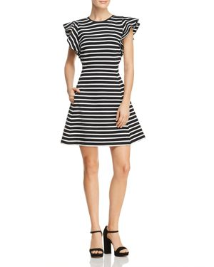 kate spade new york Stripe Ruffle Sleeve Dress