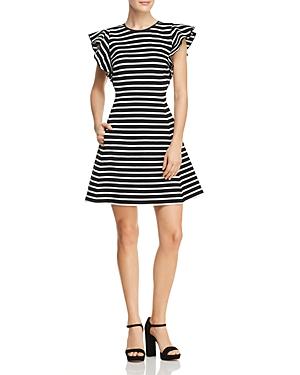 kate spade new york Stripe Ruffle Sleeve Dress