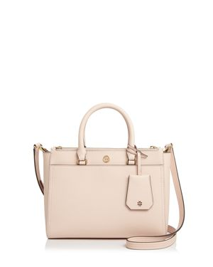Small Robinson Double-Zip Leather Tote - Pink, Pale Apricot Pink/Gold