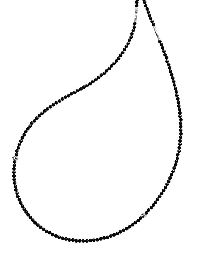 """LAGOS - Sterling Silver Caviar Icon Onyx Five Station Strand Necklace, 34"""""""