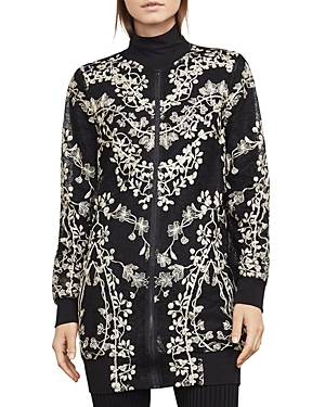 Bcbgmaxazria Gabriel Embroidered Lace Long Bomber Jacket