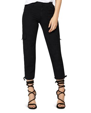 Terrain Linen Crop Cargo Pants, Black