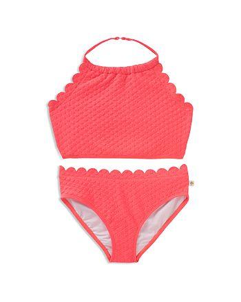 kate spade new york - Girls' Textured Scalloped 2-Piece Swimsuit - Little Kid