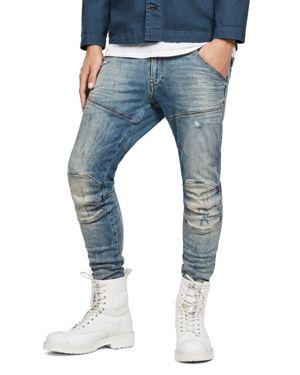 G-STAR RAW 5620 3D Super Slim Fit Jeans In Light Vintage Aged Destroyed in Lor