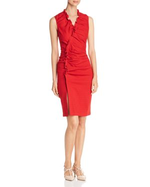 PIQUE RUCHED SHEATH DRESS