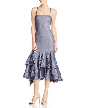Milly Ruffled Denim Mermaid Dress