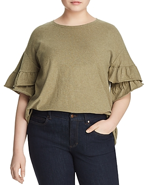 New Vince Camuto Plus Ruffle Bell Sleeve Top, Olive Heather