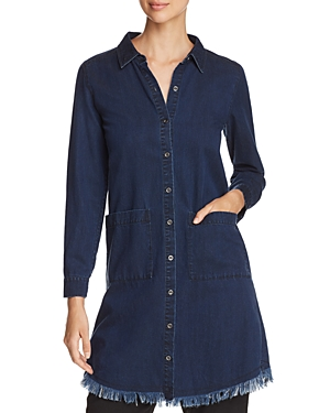 Eileen Fisher Frayed Denim Shirt Dress - 100% Exclusive