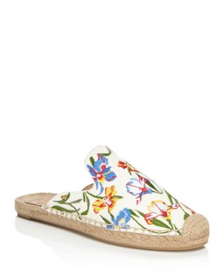 Tory Burch Designer Shoes, Max New Ivory/Painted Iris Embroidered Slide Espadrilles