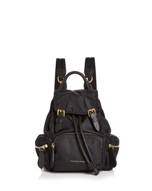 Prorsum Small Leather-Trim Nylon Rucksack Backpack in Black