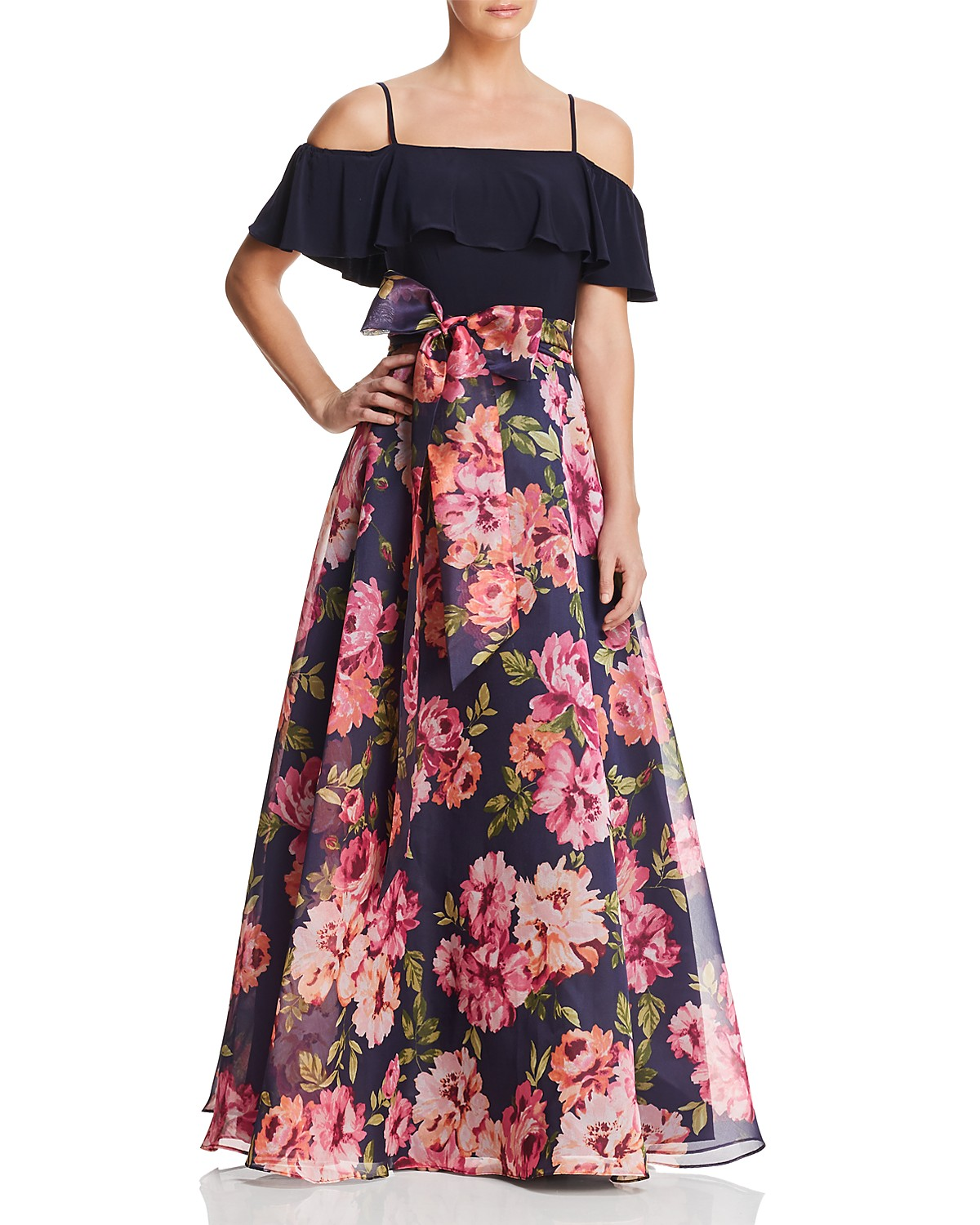 Eliza J Cold-Shoulder Floral Gown | Bloomingdale\'s