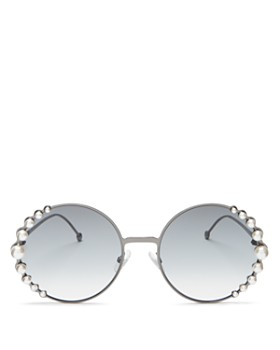 Fendi - Women's Ribbons and Pearls Oversized Round Sunglasses, 58mm
