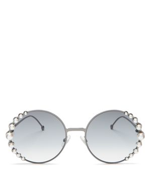 Ladies Silver Luxury Ribbons And Pearls Oversized Round-Frame Sunglasses, Dark Ruthenium/Dark Gray