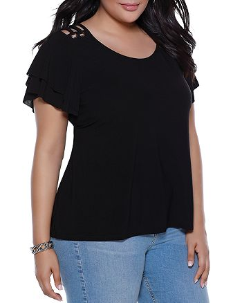 Belldini Plus - Lace-Up Shoulder Ruffle-Sleeve Top