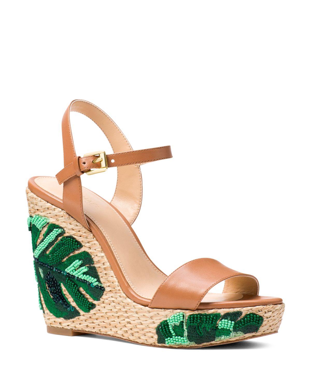 Michael Kors Women's Jill Beaded Leather Platform Wedge Sandals - 100% Exclusive