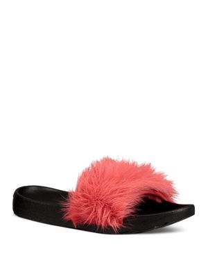 ROYALE SHEARLING POOL SLIDE SANDALS