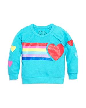 Chaser Girls Hearts  Rainbows Sweatshirt  Big Kid