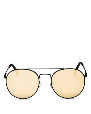 Le Specs Women's Revolution Mirrored Brow Bar Round Sunglasses, 54mm