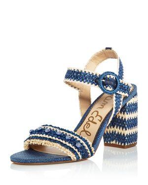 Sam Edelman Women's Olisa Raffia Block Heel Ankle Strap Sandals 2843269