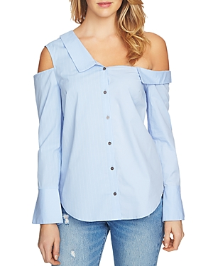 1.state  MIXED-STRIPE ONE-SHOULDER SHIRT