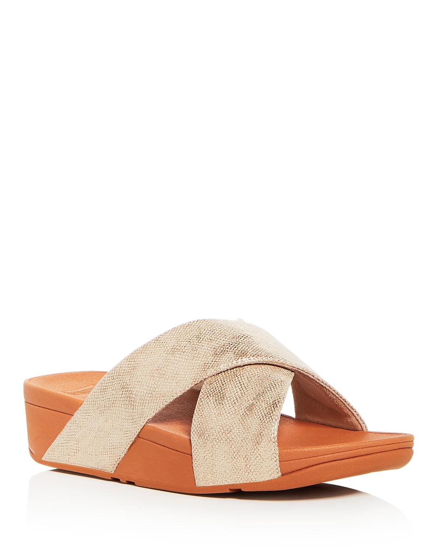 FitFlop Women's Lulu Leather Crisscross Platform Wedge Slide Sandals 7xrLme