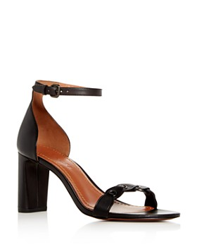COACH -  Women's Leather Ankle Strap Block Heel Sandals