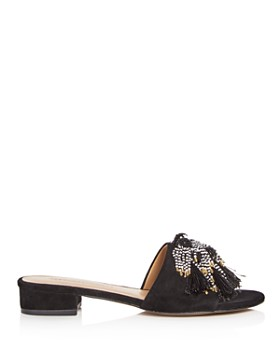 Rebecca Minkoff - Women's Kayleigh Embellished Suede Low Block Heel Slide Sandals