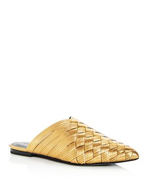 Sigerson Morrison Women's Dava Woven Leather Pointed Toe Mules