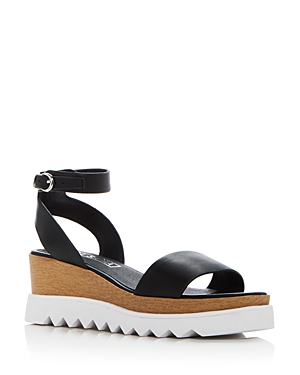 Sol Sana WOMEN'S TRAY LEATHER ANKLE STRAP PLATFORM WEDGE SANDALS