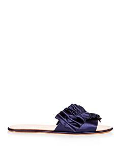 Loeffler Randall - Women's Rey Satin Ruffle Slide Sandals