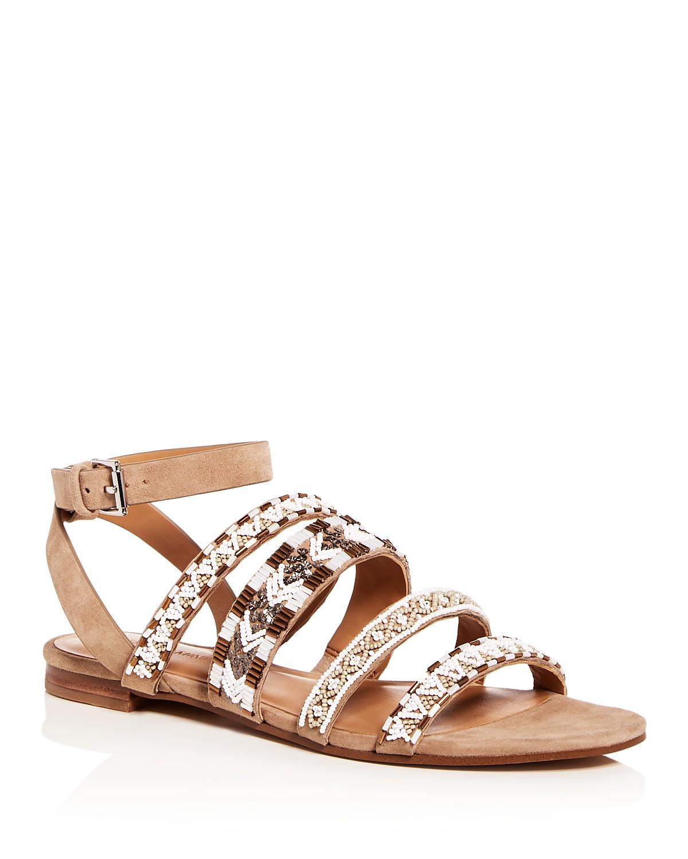 Rebecca Minkoff Women's Leila Beaded Suede Ankle Strap Sandals 8JO4O6