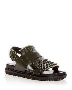 Marni - Women's Fussbett Embellished Leather Slingback Sandals