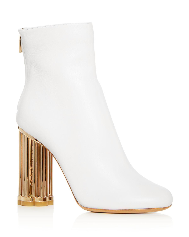Salvatore Ferragamo Women's Coriano Leather Floral Heel Booties