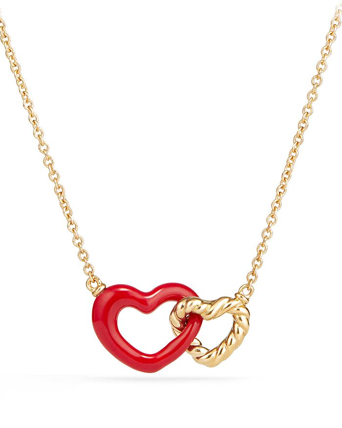 David Yurman - Double Heart Pendant Necklace with Red Enamel and 18K Gold