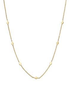 "Zoë Chicco - 14K Yellow Gold Itty Bitty Diamond-Shape Choker Charm Necklace, 14"""