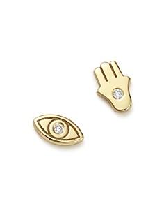 Zoë Chicco - 14K Yellow Gold Mixed Hamsa Hand & Evil Eye Diamond Stud Earrings