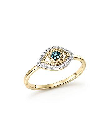 Adina Reyter - 14K Yellow Gold Tiny Pavé White & Blue Diamond Evil Eye Ring