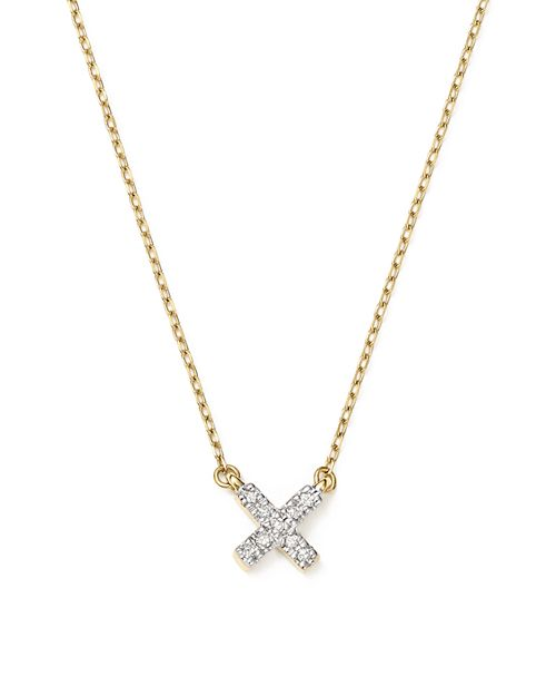 "Adina Reyter - 14K Yellow Gold Pavé Diamond Tiny X Necklace, 15"""