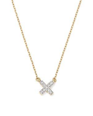 Adina Reyter 14K Yellow Gold Pave Diamond Tiny X Necklace, 15